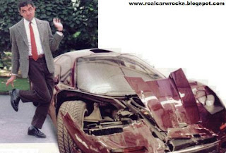 real exotic car wrecks mr bean rowan atkinson mclaren f1 crash. Black Bedroom Furniture Sets. Home Design Ideas