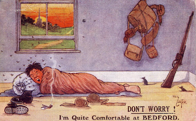 A novelty postcard sent from Bedford by a soldier his mother