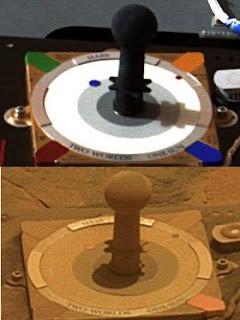 Montaje: reloj de sol del Spirit, al principio de la misión y 1300 soles después
