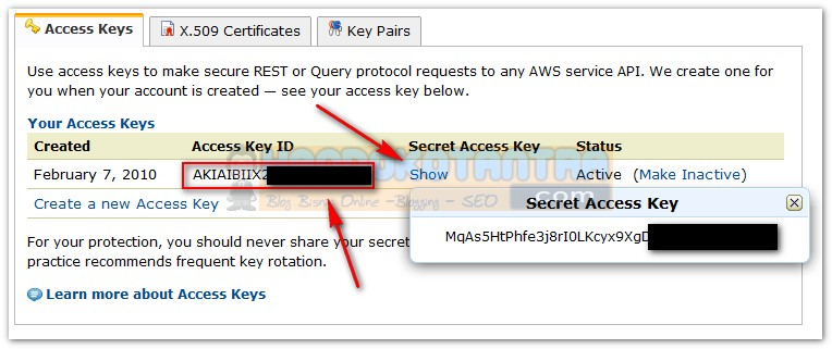 Kode API Secret Access Key Amazon