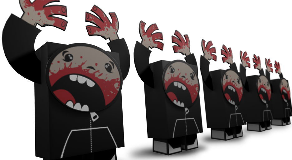 paper toy, blood face, horror cartoon, cannibal cartoon, nightmare art