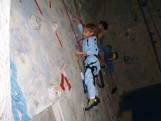 MHCC rock climbing wall in aquatic center