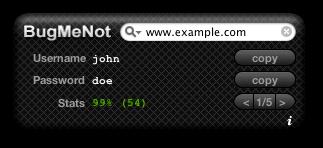 Bugmenot - пары логин-пароль на различные сайты