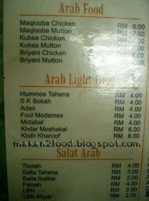 Arab Food in Penang | makan2food