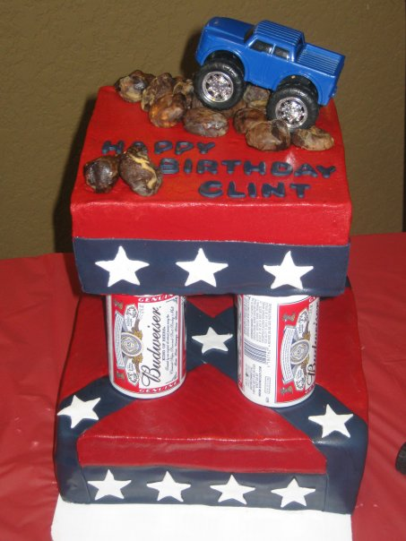 Confederate Flag Budweiser Beer Can Columns 4 Wheel Drive Pick Up Birthday Cake