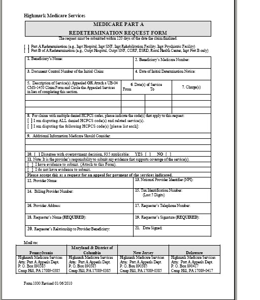 Example part A redetermination form   Medicare Fee, Payment