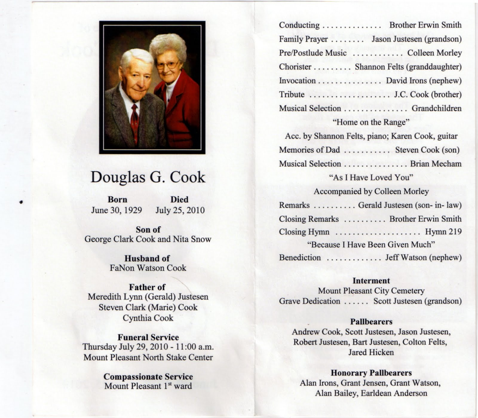 obituary guide template - mt pleasant obituary page july 2010