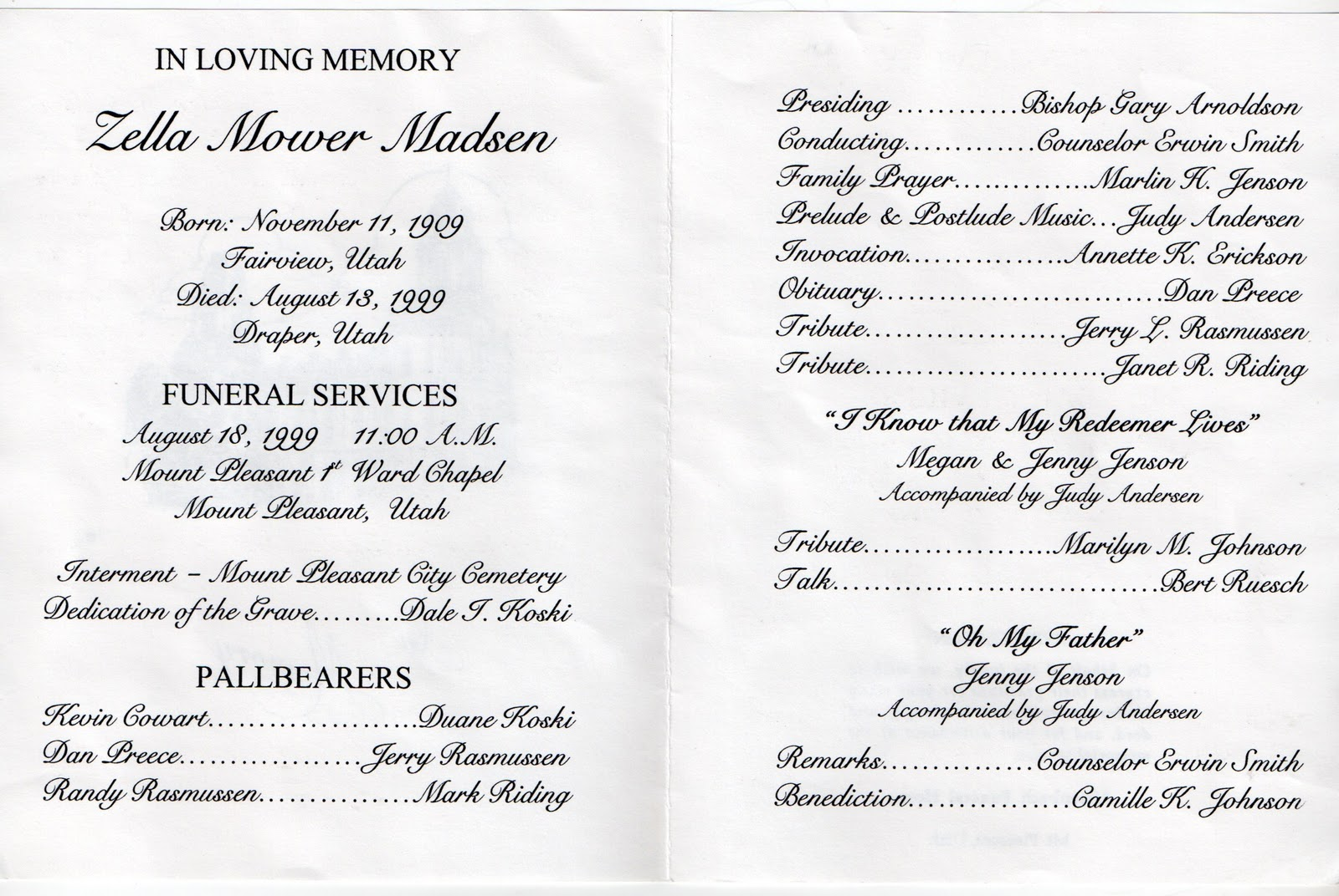 Sample Funeral Program Template funeral program template sample – Funeral Program Samples