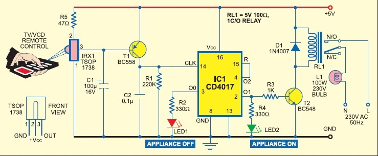 TV Remote Controlled Home Appliance Circuit