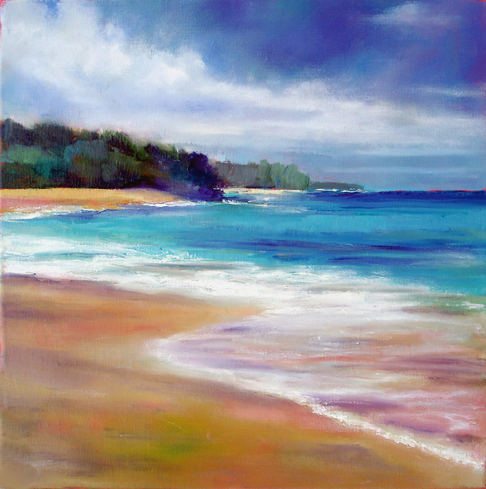 Kauai Beaches: Nancy Hughes Miller Art: Kauai Beach, Hawaii 12x12