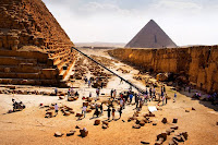 For much of the climactic battle scene, New Mexico stood in for Egypt. But the cast and crew were able to shoot some scenes in Giza at the actual pyramids, getting first-time access to the 5,000-year-old site from the Egyptian government. - Transformers 2