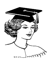 Line art drawing of a mortarboard