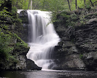 Fulmer Falls waterfall located in the Childs Recreation Area in the Pocono Mountains