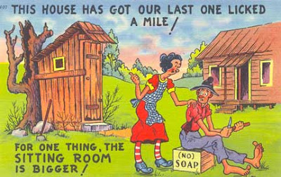hillbilly outhouse comic postcard
