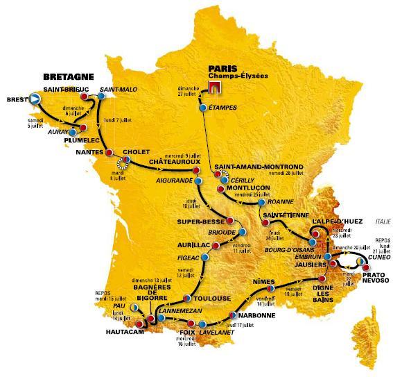 mapa tour de francia