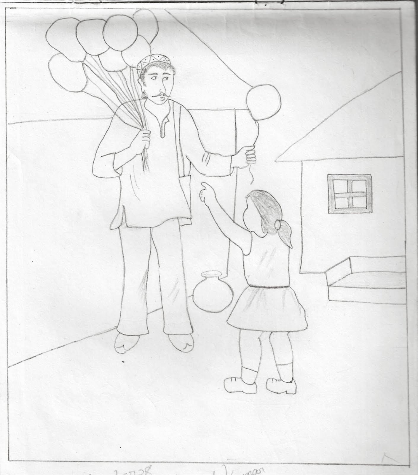 Pencil Sketch Little Girl Purchasing Balloons My Pencil Drawing Art