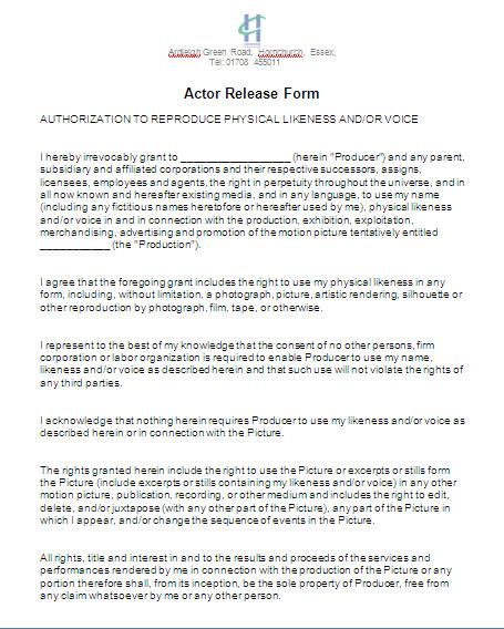 A2 Media Studies Advanced Portfolio G324 Actor Release Form