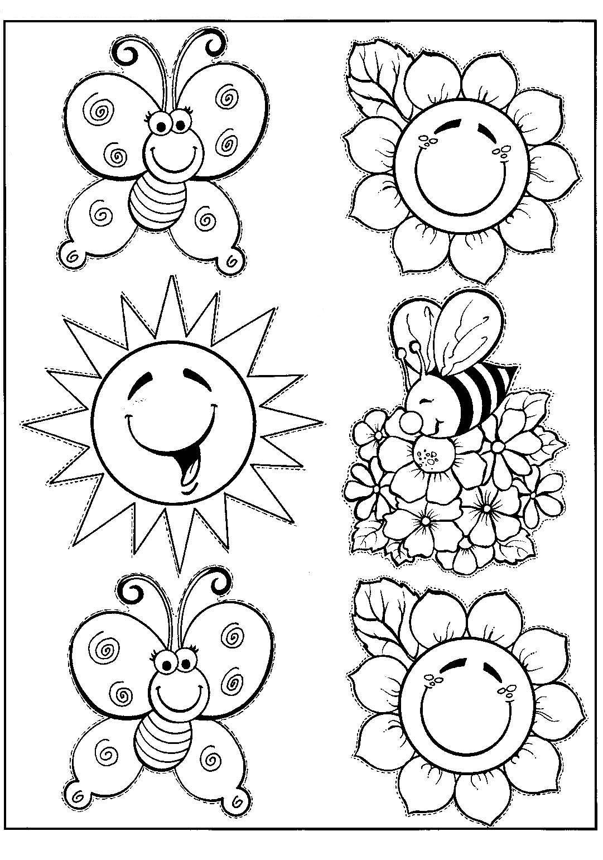 Banco De Atividades Primavera Desenhos Para Colorir E Recortar