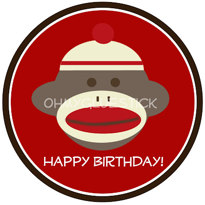 The Printable Party Shop by OMG Sock Monkey Birthday Sign