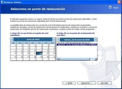 Seleccionar punto restauración en Windows