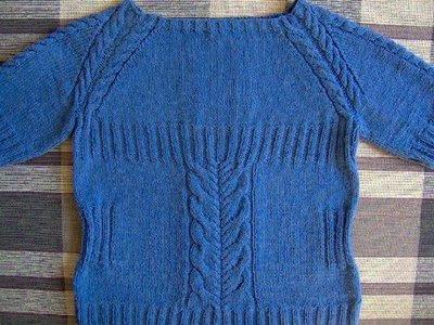 Mavi Düz Saç Örgüsü Bayan Kazağı Örneği 48