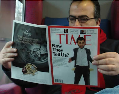 Ahmadinejad with empty pockets on the cover of Time