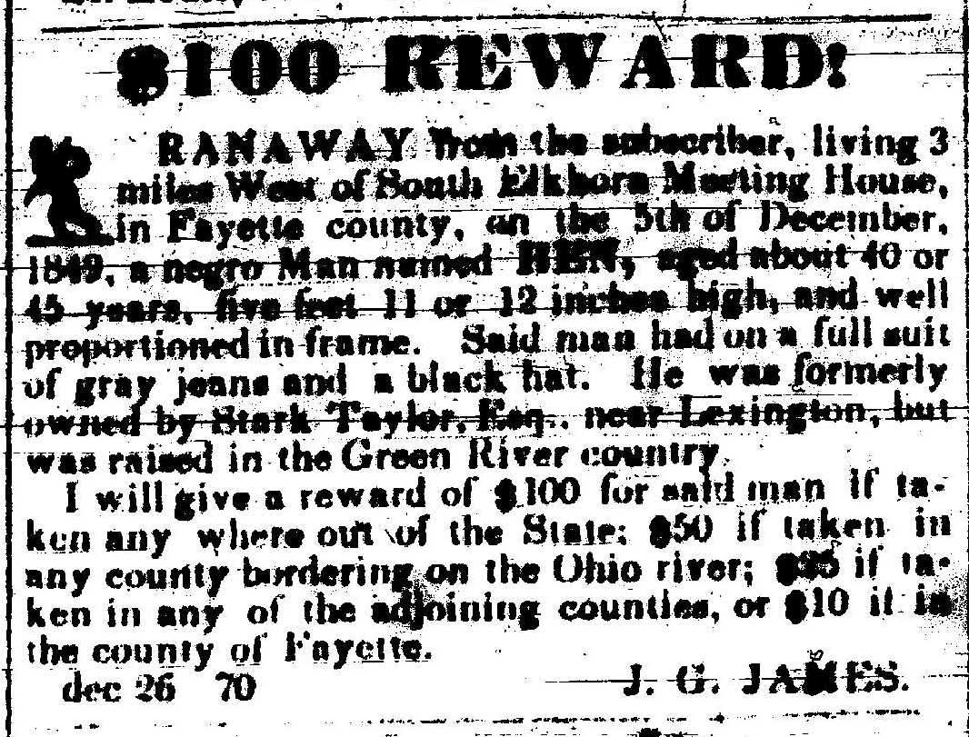 Examples List on Runaway Slave