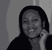 posterized black and white portrait of Renae Simpson smiling