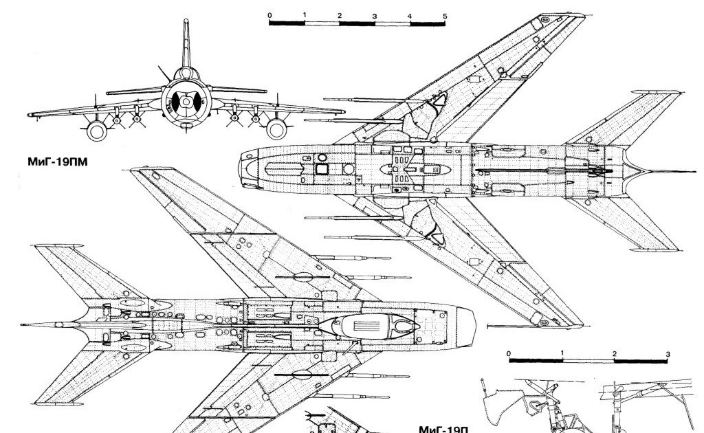 military picture: russian mig 19 fighter plane drawing