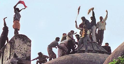 Kar Sevaks on Babri Masjid