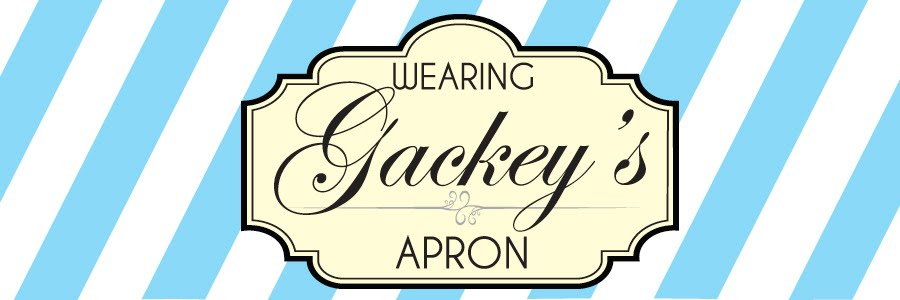 Wearing Gackey's Apron