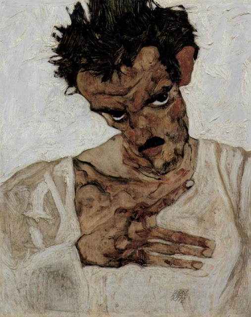 Egon Schiele, 'Self-Portrait with Lowered Head' (1912)