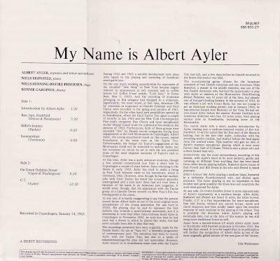inconstant sol: MY NAME IS ALBERT AYLER (REC 1963 (FONTANA
