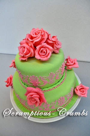Scrumptious Crumbs Pink Apple Green Wedding Cake