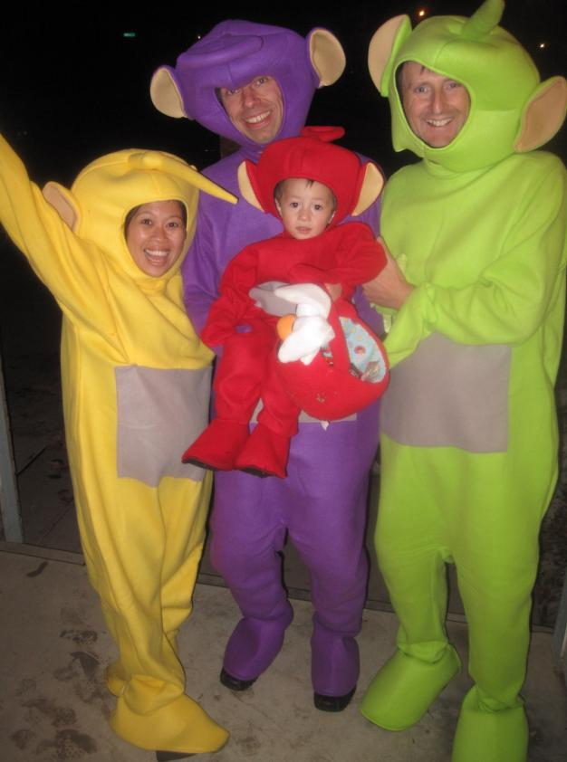 a full teletubby family quite ingenious i thought how many more outfits can you find that will fit all the funny and odd shapes in this family