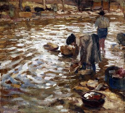 Lavando en el rio, Enrique Martínez Cubells, Pintor español, Pintores españoles, Martínez Cubells, Paisajes de Enrique Martínez Cubells, Pintores Valencianos