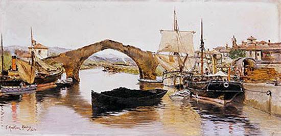 Puente viejo de Avilés, Juan Martínez Abades, Pintor español, Paisajes de Juan Martínez Abades, Pintor Martínez Abades, Pintores españoles, Pintores Asturianos, Martínez Abades