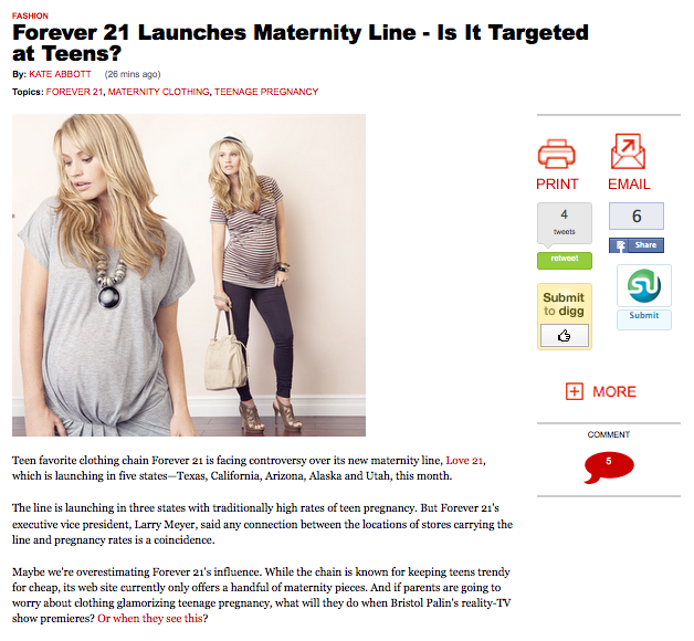 32448de470d I actually found the article quite funny - as they were able to analyze  that the Maternity line will be sold in states with a high number of  teenage ...