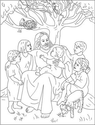 jesus and children coloring pages - photo#9
