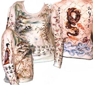 pittura a mano libera su T-shirt in viscosa soggetto orientale