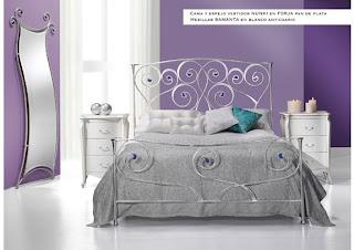 cabecero y cama nunki plata