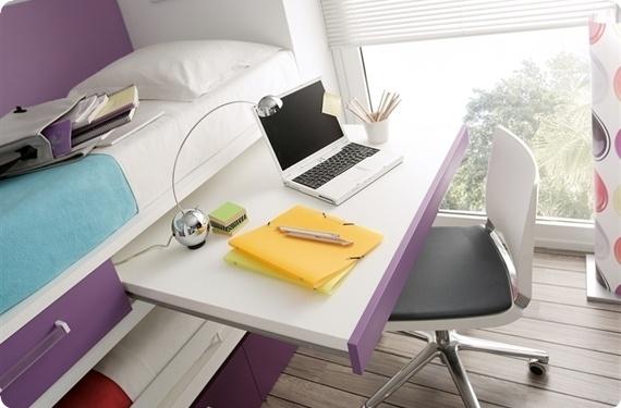 Camas compacto con mesa de estudio for Cama nido escritorio incorporado