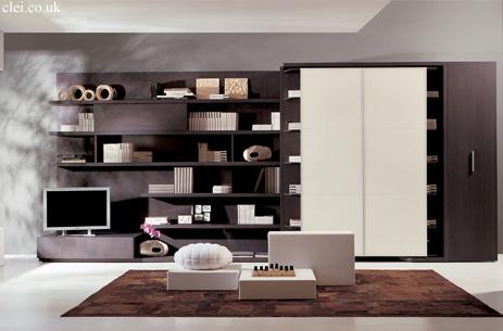 Libreria con cama abatible incorporada a un mueble de sal n - Mueble salon con cama abatible ...