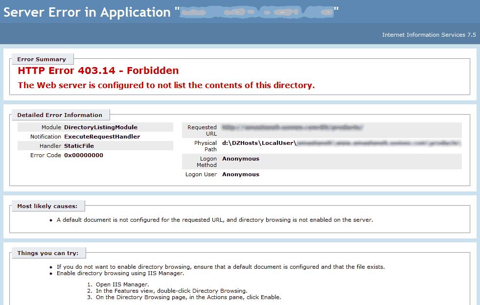 HTTP Error 403 14 - Forbidden - Software Development