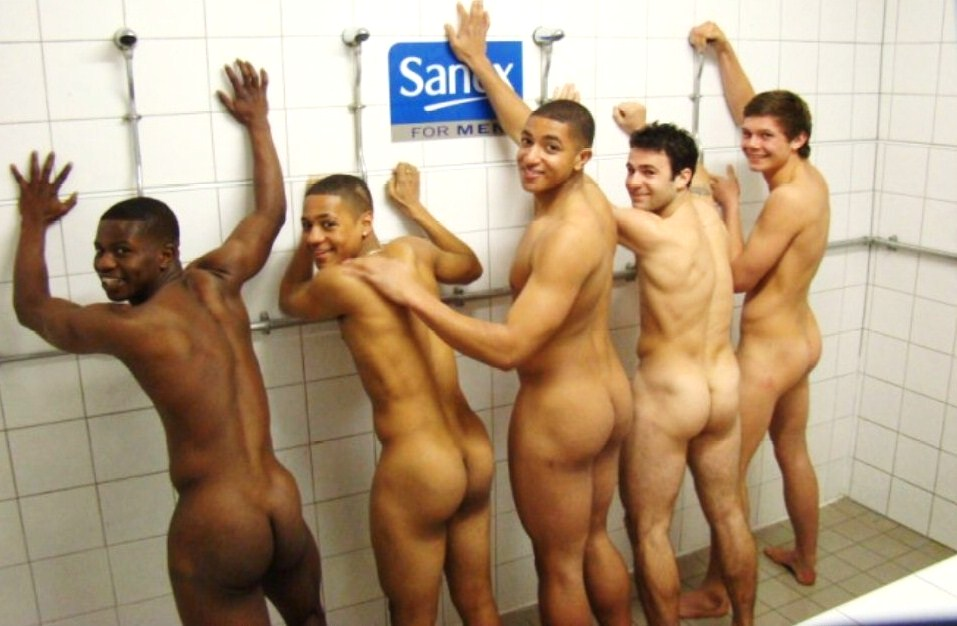 Naked black girls in the locker room shower does not