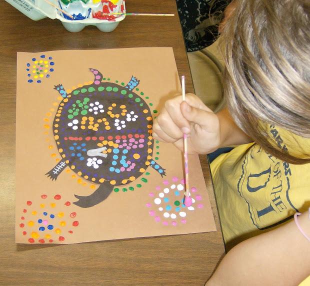 Zilker Elementary Art Class 4th Grade Aboriginal Dot Paintings