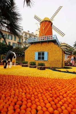 windmill made out of oranges