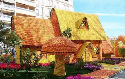 cottage made out of oranges