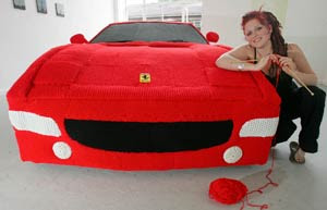 knitted full sized red Ferrari