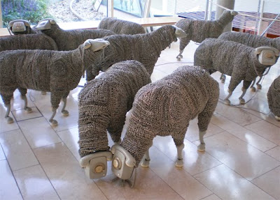 Creative Sheep Sculptures Made From Rotary Telephones (10) 1